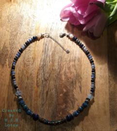 lapis lazuli/white opal ster/Agaat Saffierblauw/ Strass Kralen