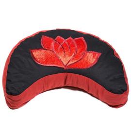 Meditatiekussen zwart/rood maan lotus geborduurd