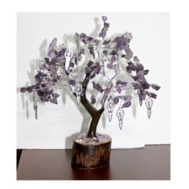 Amethist Edelsteenboompje met MAANGODIN-hangertjes en 160 steentjes