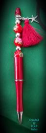 kralenpen rood hanger zeester