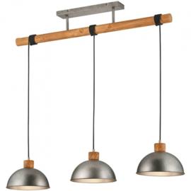 hanglamp Delhi 215 x 107 cm staal/hout 3 kg grijs/bruin