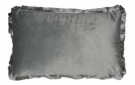 kussen 50 x 30 cm fluweel grijs
