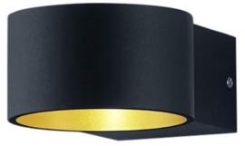wandlamp Lacapo 15 x 10,5 cm led staal 725 gram matzwart
