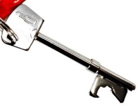 flesopener sleutel 2,3 x 7,4 cm staal zilver