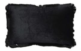 kussen 50 x 30 cm fluweel zwart