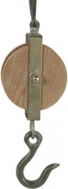 katrol Bernd 34 x 10,5 cm staal/hout naturel