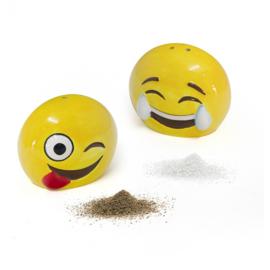 peper- en zoutstel Emoji 7 cm keramiek geel 2-delig