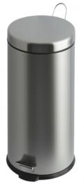 pedaalemmer 30 liter rond staal zilver