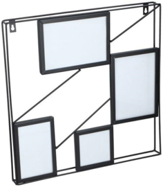 fotolijst vierkant staal 4 foto's 40 cm zwart