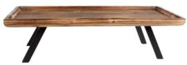 dienblad Dylan 55 x 22 cm staal/hout bruin/zwart