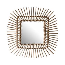 spiegel vierkant zon 58 cm naturel