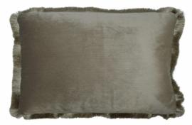 kussen 50 x 30 cm fluweel taupe