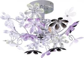 hanglamp Flower 38 cm staal/acryl chroom/lila/wit