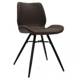 eetkamerstoel 55 x 81,5 cm kunstleer/staal zwart