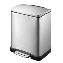 pedaalemmer E-Cube 12 liter RVS matzilver
