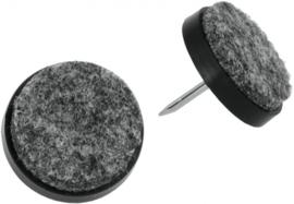 viltdoppen rond 2,5 cm zwart/grijs 8 stuks