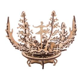 ornament mechanische bloem 16 cm hout naturel 101-delig