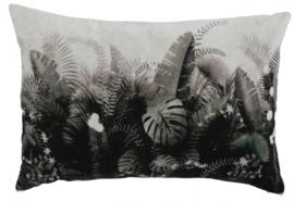 decoratiekussen 60 x 40 cm textiel grijs/zwart