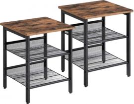 nachtkastjes 40 x 40 x 51 cm staal/hout bruin 2 stuks