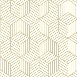 zelfklevend behang Hexagon 52 x 500 cm wit/goud