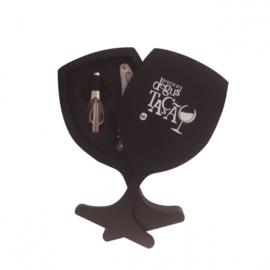 wijnkit 18 x 10 cm MDF/RVS zwart/zilver 3-delig