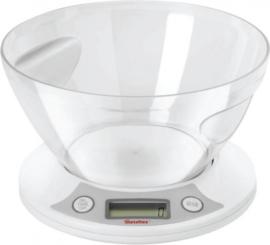 digitale keukenweegschaal 10 x 22 cm grijs/wit 2-delig