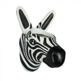 bloempot Zebra 11 x 18 cm polystone zwart/wit