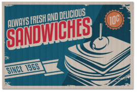 placemats Sandwiches 30,5 x 46 cm polyester blauw 2 stuks
