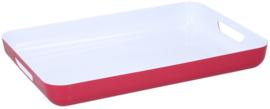 dienblad 42,5 x 29 cm polystyreen wit/rood