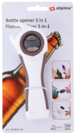 flessenopener 3-in-1 wit/grijs 15 cm