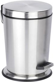 pedaalemmer 5 liter 29,5 cm RVS zilver