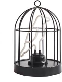 decoratielamp vogelkooi 16 cm staal zwart 2-delig