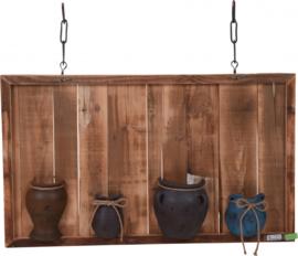 Vintage houten muurdecoratie met 4 potten