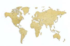 wereldkaart 130 x 78 cm bamboe blank 17-delig