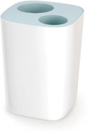 afvalemmer 8 L 28 x 21 cm polypropyleen wit/blauw