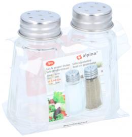 peper- en zoutvaatje glas/RVS transparant/zilver 2 stuks