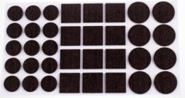 Anti-krasvilt zelfkl. Ø20/28m/25x25mm bruin 105stuks