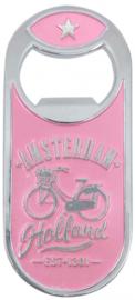 flesopener Amsterdam fiets magnetisch staal roze/zilver