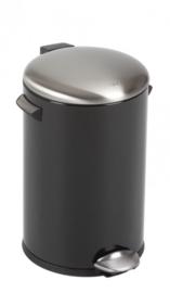 pedaalemmer Belle Deluxe 12 liter RVS zwart