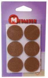 viltdoppen rond 3,3 cm bruin 6 stuks