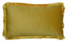 kussen 50 x 30 cm fluweel geel