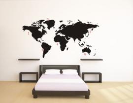 Wereldkaart Muursticker zwart