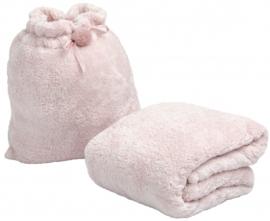 deken met tas 250 x 200 cm polyester/pluche roze