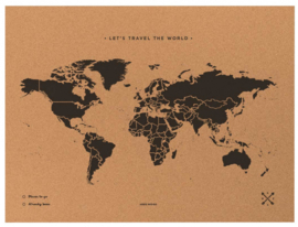 wereldkaart kurk 90 x 60 cm zwart