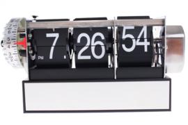 bureauklok 18 x 9 cm staal/ABS zwart/zilver