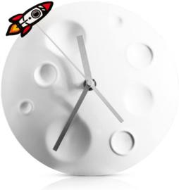 klok Rocket Moon 20 x 4,8 cm metaal grijs