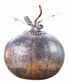 sfeerlamp Pumpkin Ball led 1,5V 28 cm staal zilver