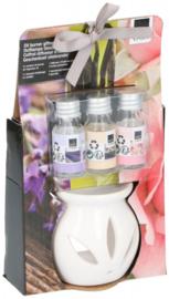 geschenkset oliebrander lavendel/vanille/rozen 4-delig