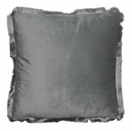 kussen 40 x 40 cm fluweel grijs