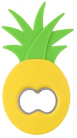 flessenopener ananas 11 cm staal/polypropeen groen/geel